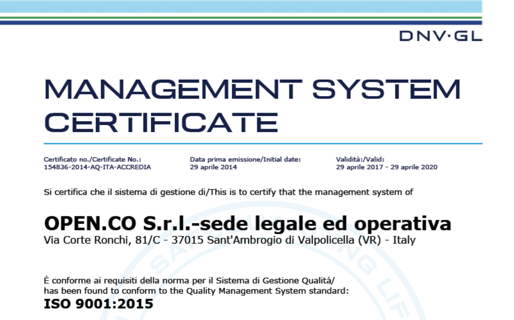 Open-Co certificata ISO 9001:2015